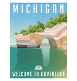 Michigan travel poster of sandstone cliffs on Lake Superior shoreline. Michigan travel poster or sticker. Retro style vector illustration of sandstone cliffs on Stock Images