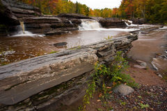 Michigan Upper Peninsula Waterfall In Autumn Royalty Free Stock Images