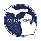 Michigan vector map. Grunge rubber stamp with the name and map of Michigan, vector illustration. Can be used as insignia, logotype, label, sticker or badge of Stock Image