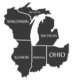 Michigan - Wisconsin - Illinois - Indiana - Ohio Map labelled bl Royalty Free Stock Photo
