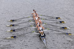 Michigan  Women's Crew races in the Head of Charles Regatta Women's Master Eights Royalty Free Stock Photography
