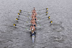 Michigan  Women's Crew races in the Head of Charles Regatta Women's Master Eights Royalty Free Stock Photos