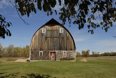 Michigans largest cordwood barn Stock Photo