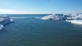 Michigansee im Winter Lizenzfreies Stockfoto