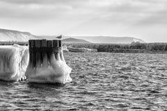 Michigansee, Pier, Winter Lizenzfreie Stockfotos
