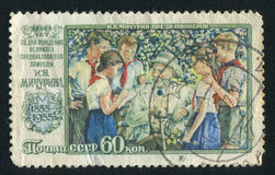 Michurin with Pioneers. RUSSIA - CIRCA 1956: stamp printed by Russia, shows I. V. Michurin with Pioneers, circa 1956 Royalty Free Stock Photo