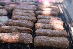 Mici on the grill (romanian meat balls). Traditional romanian meat balls, named mici or mititei, on the grill, along with other pork meat. Mititei is a Stock Photography