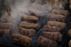 Mici - romanian summer traditionaly food. Romanian traditionaly summer food in weekends and picnics Royalty Free Stock Image