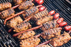 Mici and sausage Royalty Free Stock Photos