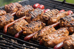 Mici and sausage on grill Royalty Free Stock Photos