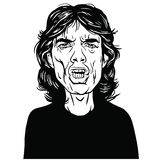 Mick Jagger Hand Drawn Portrait Vector Drawing Black and White Royalty Free Stock Photography