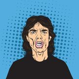 Mick Jagger Pop Art Portrait Vector. Illustration Stock Image