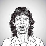 Mick Jagger portreta ręka Rysujący rysunek karykatury rozmowa być prześladowanym kobieta śmieszny jak mężczyzna nie zawiadomienia royalty ilustracja