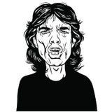 Mick Jagger portreta ręka Rysujący Wektorowy Rysunkowy Czarny I Biały ilustracja wektor