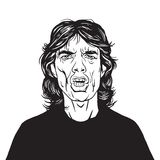Mick Jagger Vector Portrait Drawing. Hand Drawn Illustration Royalty Free Stock Images