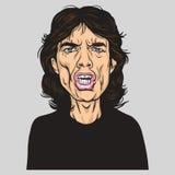 Mick Jagger Wektorowego portreta Ilustracyjna karykatura ilustracja wektor