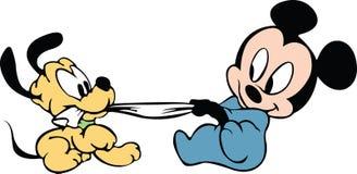 Mickey behandla som ett barn pluto Vektor Illustrationer