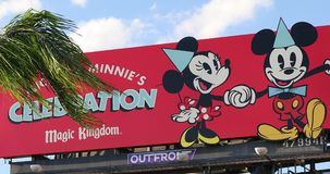 Mickey Minnie Celebration Magic Kingdom-Teken in Orlando Florida Van de binnenstad de V.S. stock videobeelden