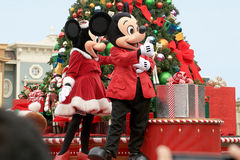 Mickey and Minnie Mouse. On a Christmas Day parade at Magic Kingdom Stock Photography