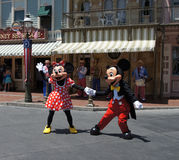 Mickey and Minnie Mouse at Disneyland. Mickey and Minnie Mouse dancing at Disneyland Royalty Free Stock Image
