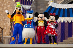 Mickey and Minnie Mouse, Donald Duck and Goofy. On stage at Disney World in  Orlando Florida Stock Image