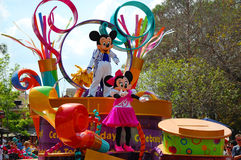 Mickey and Minnie Mouse. Greeting the crowd during the afternoon parade in Disneyworld Orlando Stock Photos