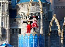 Mickey and Minnie Mouse On Stage at Disney World Orlando Florida. Mickey and Minnie Mouse on stage and waving on stage at Disney World in Orlando Florida Royalty Free Stock Photo
