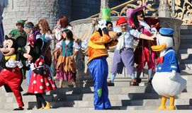 Mickey, Minnie, Niemądrej i Donald kaczka przy Disney światem, Zdjęcie Royalty Free