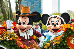Mickey and Minnie in Philly Annual Parade. Philadelphia, PA - November 24, 2016: Mickey and Minnie Mouse ride in a carriage in the annual Thanksgiving Day parade Stock Images