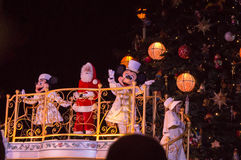 Mickey, Minnie and Santa claus. During the Chrismastree lighting ceremony in Dsienyland Paris Stock Photography