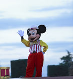 Mickey Mouse. Saying good-bye to the audience after an evening performance in Disneyland Paris Stock Photography