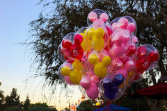 Mickey Mouse balloons at dusk at Disneyland Royalty Free Stock Photos