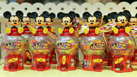 Mickey mouse candy jars. Colorful candy jars with mickey mouse figurines for sale at disneyland hong kong stock images