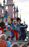 Mickey Mouse dancing. In front of the audience during an evening performance in Disneyland Paris Stock Photos