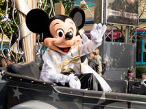 Mickey Mouse at Disneyland Paris cars and stars pa. Mickey mouse sits inside his 20th anniversary car during the Cars and Stars Parade in the Disneyland studios Royalty Free Stock Photography