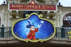 Mickey Mouse in Disneyland Park. Mickey Mouse at the entrance in Disneyland Park, Paris Stock Photo