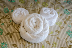 Mickey Mouse Ears Towels. Disney World hotel towels shaped into the form of Mickey Mouse ears Royalty Free Stock Images