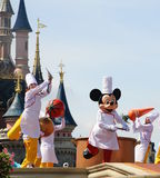 Mickey Mouse and fairy tale friends. PARIS, FRANCE: Disneyland Resort Paris features two theme parks, an entertainment district and seven Disney-owned hotels Royalty Free Stock Photos