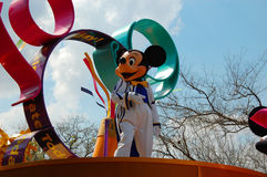 Mickey Mouse. Greeting the crowd during the afternoon parade in Disneyworld Orlando Stock Photos