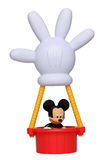 Mickey Mouse in his hot air balloon. With the shape of his hand isolated against a white background. This balloon is an important item in the successful Royalty Free Stock Photography