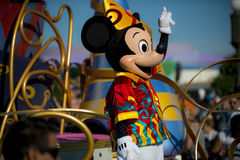 Mickey mouse in parade. Main street of Disney World Orlando with Mickey Mouse in the parade Royalty Free Stock Images
