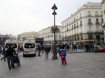 Mickey Mouse in the Puerta del Sol in Madrid Spain Europe. Mickey Mouse in the Puerta del Sol in MadridnnThe Puerta del Sol is a square in the Spanish city of Stock Photo