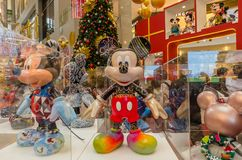 Mickey Mouse`s figurines Christmas decoration in Pavilion Kuala Lumpur stock photo