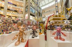 Mickey Mouse`s figurines Christmas decoration in Pavilion Kuala Lumpur stock photography