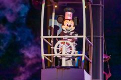Mickey Mouse sailing on Fantasmic show at Hollywood Studios at Walt Disney World 3 stock image