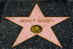 Mickey Rooney star on the Hollwyood Walk of Fame Stock Photo