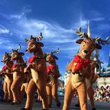 Mickey's Very Merry Christmas Party at Walt Disney World. Reindeers at Christmas holiday parade party Walt Disney World Magic Kingdom,Orlando,Florida 2015 Royalty Free Stock Photo