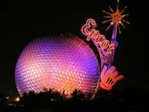 Mickey's magic wand at Epcot Center by night, Orlando Stock Photography
