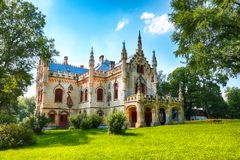 Miclauseni Castle, one of the most beautifull neo-gothic castles, belonged to Sturdza family. Attractive green park in Miclauseni monastery. Splendid landscape stock photography