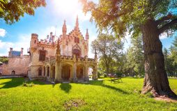Miclauseni Castle, one of the most beautifull neo-gothic castles, belonged to Sturdza family. Attractive green park in Miclauseni monastery. Splendid landscape royalty free stock photography